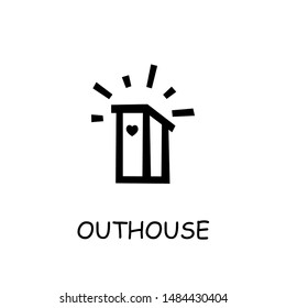 Outhouse flat vector icon. Hand drawn style design illustrations.