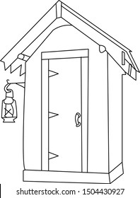 outhouse with light hanging line art
