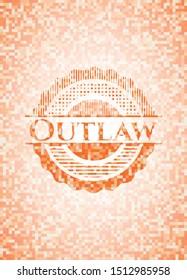Outlaw abstract emblem, orange mosaic background