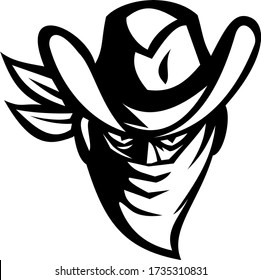 Outlaw Bandit Cowboy Wearing Face Mask Black and White Retro