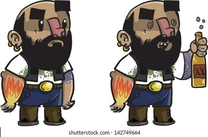 Outlaw Biker with tattoo -  Vector clip art illustration on white background