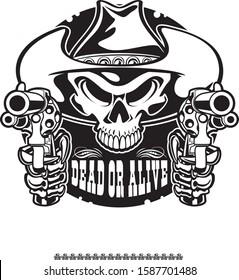 outlaw cowboy human skull pointing guns