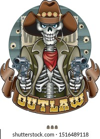outlaw cowboy skeleton pointing guns