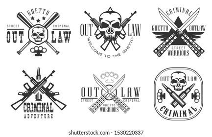 Outlaw Ghetto Criminal Retro Labels Set, Street Warriors Black Badges Vector Illustration