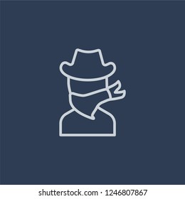 Outlaw icon. Trendy flat vector Outlaw icon on dark blue background from Desert  collection