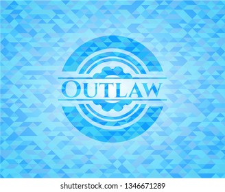 Outlaw light blue emblem with triangle mosaic background