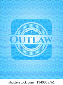 Outlaw light blue water badge background.