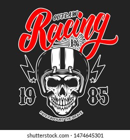 Outlaw racing. Emblem template with skull in racer helmet. Design element for poster, logo, label, sign, badge. Vector illustration