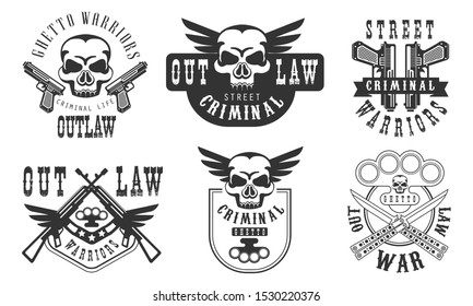 Outlaw Street Criminal Retro Labels Set, Welcome to the Ghetto Black Badges Vector Illustration