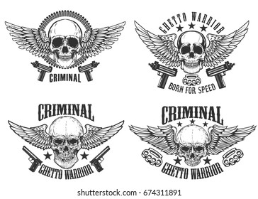 Outlaw, street warriors. Set of winged skulls with weapon. Design elements for emblem, sign, label, t-shirt. Vector illustration