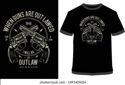 Outlaw  - Vintage Vector graphic typographic design for poster, label, badge, logo, icon or t-shirt