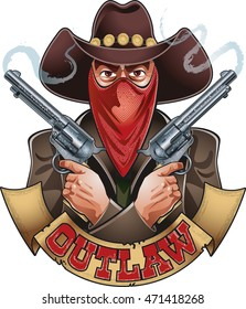 outlaw wearing mask and holding pistols