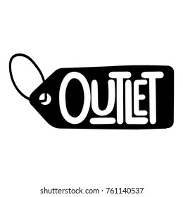 Outlet. Badge, mark, symbol, icon vector hand drawn illustration on white background.