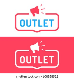 Outlet. Badge, megaphone icon. Flat vector illustration on white and red background.