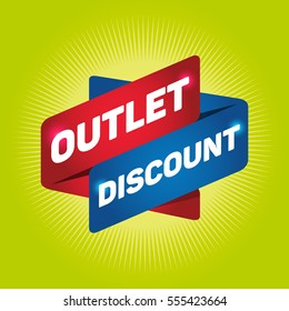 OUTLET DISCOUNT arrow tag sign.