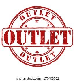 Outlet grunge rubber stamp on white, vector illustration