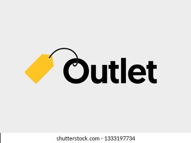 Outlet lettering with yellow tag