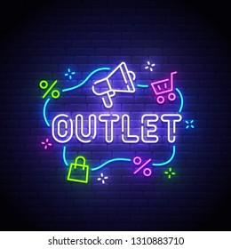 Outlet neon sign, bright signboard, light banner. Outlet logo neon, emblem. Vector illustration