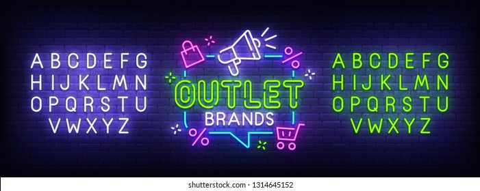 Outlet neon sign, bright signboard, light banner. Outlet logo, emblem and label. Neon sign creator. Neon text edit