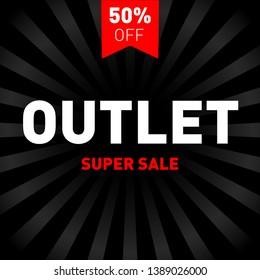 Outlet sale layout background. For art template design. Discount banner. Black friday. Outlet sign poster. Discount art. Black Friday vector. Super sale art background for your design. Outlet.
