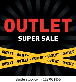 Outlet sale layout background. Outlet background. Discount banner. Black friday. Outlet sign poster. Discount art. Black Friday vector. Super sale art background for your design. Outlet.