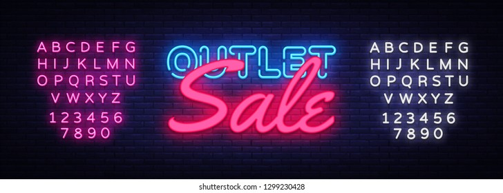 Outlet Sale neon text vector design template. Discount neon banner, light banner design element colorful modern design trend, night bright advertising, bright sign. Vector. Editing text neon sign
