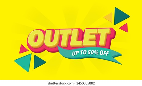Outlet Sales Template Yellow Vector