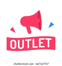Outlet. Vector illustration with megaphone icon on white background.