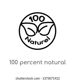 outline 100 percent natural vector icon. isolated black simple line element illustration from ecology concept. editable vector stroke 100 percent natural icon on white background