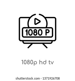 outline 1080p hd tv vector icon. isolated black simple line element illustration from cinema concept. editable vector stroke 1080p hd tv icon on white background