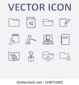 Outline 12 book icon set. information folder, online book reading, notebook feather pen, gavel, notebook and folder vector illustration