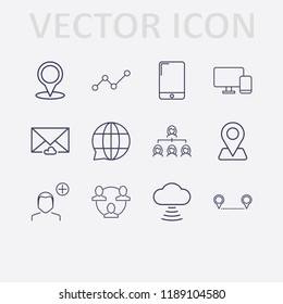 Outline 12 connection icon set. networking, cloud message, analytics, add user, distance, smartphone, cloud signal, monitor phone, organization, globe chat and location vector illustration