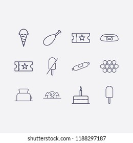 Outline 12 delicious icon set. dog food bowl, birthday cake, forbidden ice cream, honeycomb, pork, chicken leg, toster, ice cream, sausage and movie ticket vector illustration
