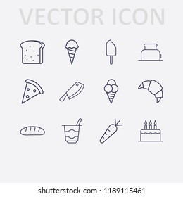 Outline 12 delicious icon set. meat knife, ice cream, toster, bread, pizza, cake, carrot, croissant and yogurt vector illustration