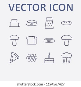 Outline 12 delicious icon set. mushroom, bread, toster, grater, dog food bowl and pizza vector illustration