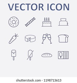 Outline 12 delicious icon set. forbidden ice cream, donut, cheese, toster, bread and carrot vector illustration