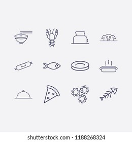 Outline 12 lunch icon set. pork, sausage, bowl, plate, fish, setting, hot dog, pizza, dish, lobster and toster vector illustration