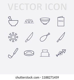 Outline 12 lunch icon set. menu, bowl, fish, plate, ladle, pork, knife, toster, setting and chicken leg vector illustration