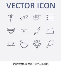 Outline 12 lunch icon set. bowl, pork, knife, setting, menu and toster vector illustration