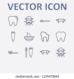 Outline 12 mouth icon set. toothbrush, tooth, halloween vampire teeth, tooth paste, broken tooth and shark vector illustration