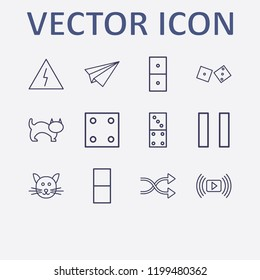 Outline 12 play icon set. danger, cat, shuffling, dice, domino and media player vector illustration
