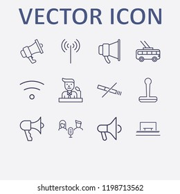 Outline 12 public icon set. trolleybus, speaker on tribune, audio conference, stamp, wifi and no smoking vector illustration
