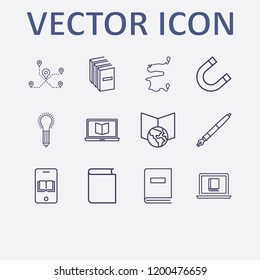 Outline 12 school icon set. book, idea with pencil, magnet, online learning, online book reading and pen vector illustration