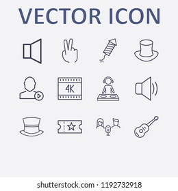 Outline 12 show icon set. sound, movie ticket, k, user mediaplayer, fireworks and magic hat vector illustration