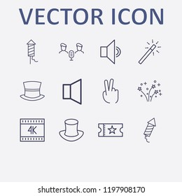 Outline 12 show icon set. fireworks, k, magic stick, movie ticket, magic hat and audio conference vector illustration