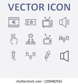 Outline 12 show icon set. audio conference, two fingers, dj, k, sound and movie ticket vector illustration