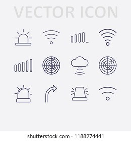 Outline 12 signal icon set. turn right arrow, alarm flasher, wifi, signal bars, radar and cloud signal vector illustration