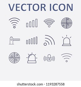 Outline 12 signal icon set. wi fi signal, parking barrier, lock signal, signal bars, alarm flasher and radar vector illustration
