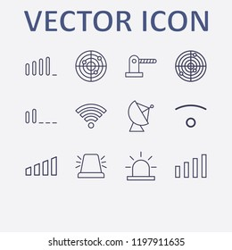 Outline 12 signal icon set. parking barrier, wifi, signal bars, wi fi signal, alarm flasher and satellite antenna vector illustration