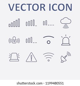Outline 12 signal icon set. lock signal, cloud signal, signal bars, warning, alarm flasher and wifi vector illustration